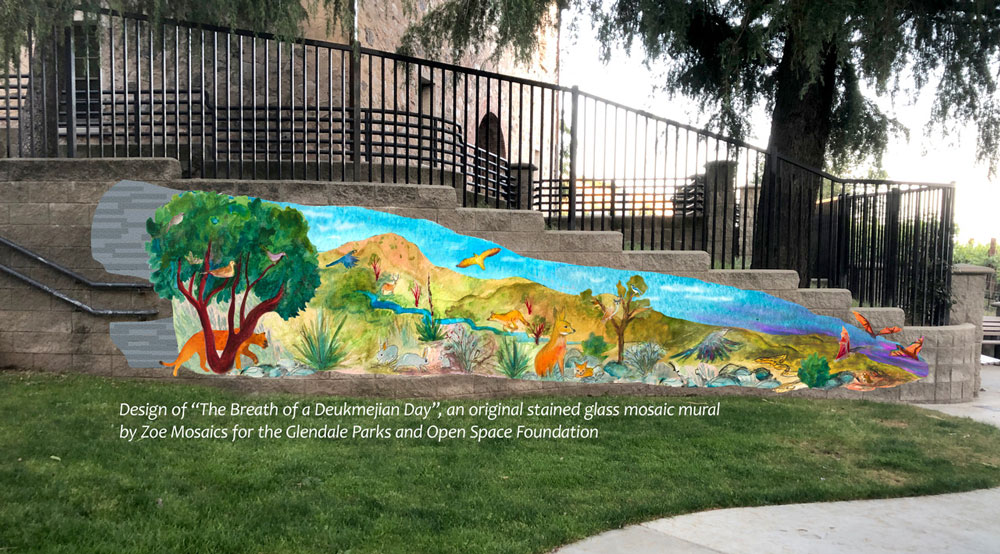 Design of the new stained glass mosaic mural coming to Deukmejian Park